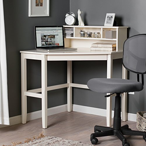 Corner Laptop Writing Desk with Optional Hutch - Vanilla by Finley Home