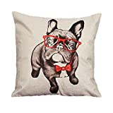 "Outtop Christmas Gift [ Collection II ] Linen Blend Pillowcases-Cute Designs Sofa Bed Home Decoration Festival Pillow Cushion Covers, 45cm X 45cm/18"" X 18"" (French Bulldog)"