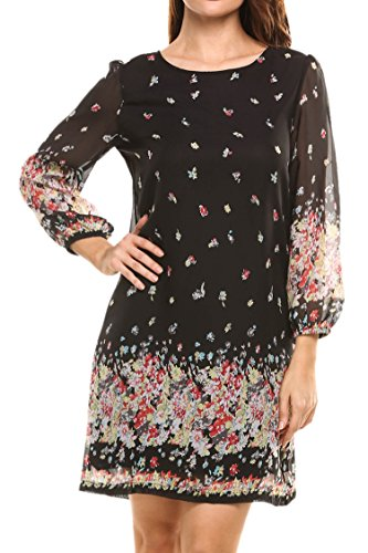 on Floral 3/4 Sleeve Shift Loose fit Tunic Dress ()