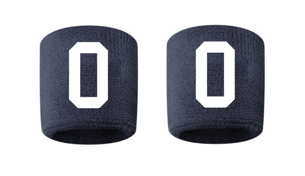 #0 Embroidered/Stitched Sweatband Wristband NAVY BLUE Sweat Band w/ WHITE Number (2 Pack)