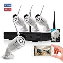 KORANG 4CH 1080P Wireless Security Camera System Wifi NVR Kit with four 2.0 Megapixel Outdoor Waterproof Wireless IP Cameras, 100Ft Night Vision,1TB HDD Pre-installed