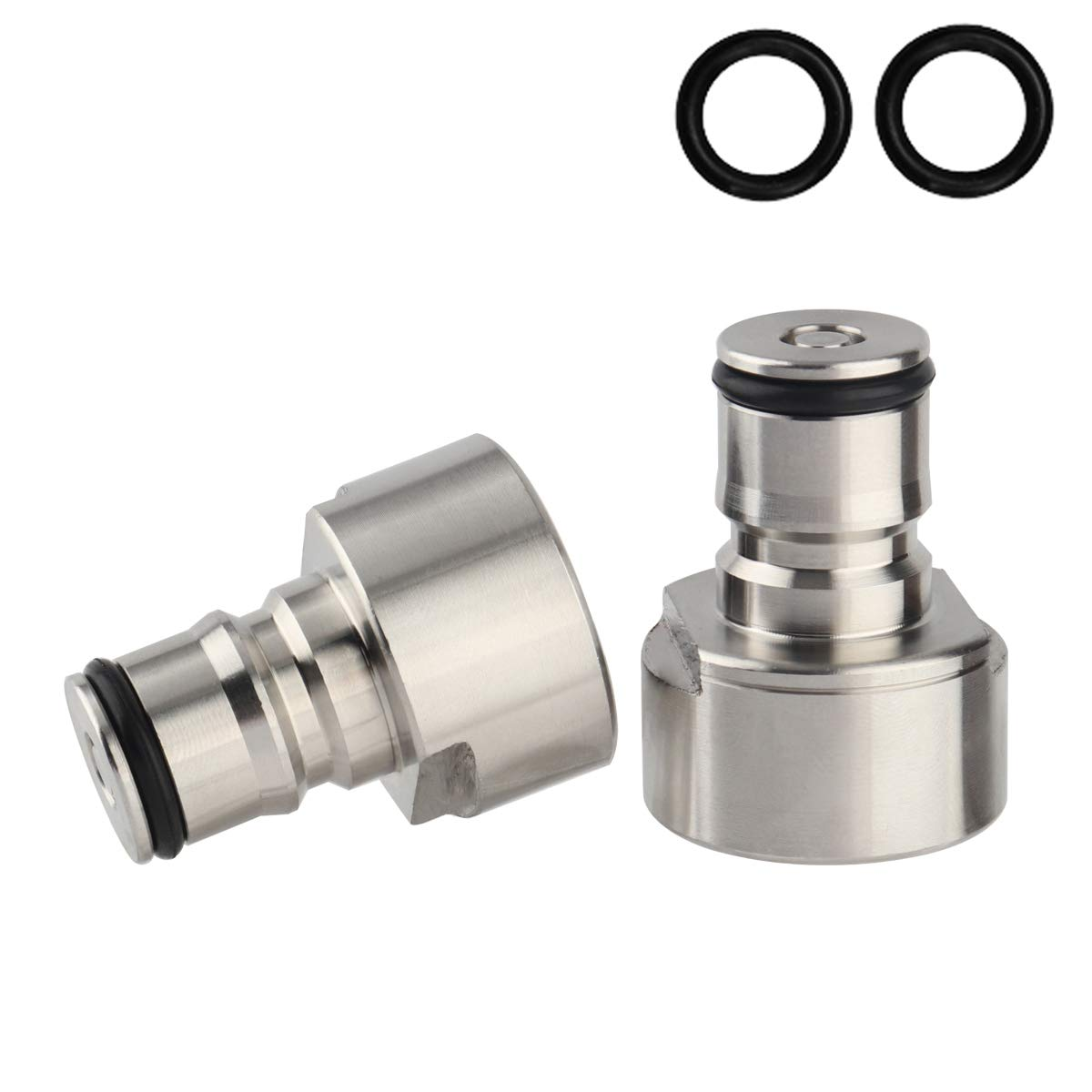 Keg Coupler Adapter Kit, Stainless Steel Ball Lock Posts, 5/8 NPT Thread Sanke Adapter, Quick Disconnect Conversion Kit For Homebrewing (silver)