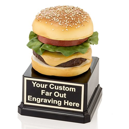 Far Out Awards Cheese Burger Trophy - Hamburger Award, Eating Contest Trophies, Best Cheeseburger Awards (Cheese Trophy)