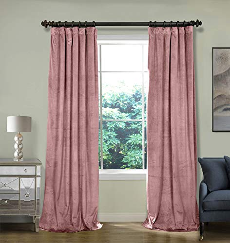 - ChadMade 100W x 108L Inch Soft Premium Velvet Curtain Drapery with Blackout Lining Flat Hook or Ring Clip Header for Track, Coral (1 Panel)