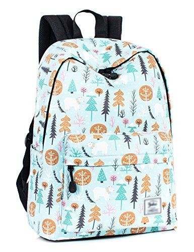 Leaper Cute Bear Laptop Backpack Women Daypack Travel Bag Satchel Handbag Blue