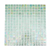 glass tile bathroom URBN Contemporary Seafoam Green Iridescent Glass Mosaic Tile for Kitchen and Bath - Sample Tile (4-1/3 inches x 4-1/3 inches, 0.13 SQ FT)