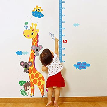 Amazon com misslight cute giraffe height growth chart wall sticker