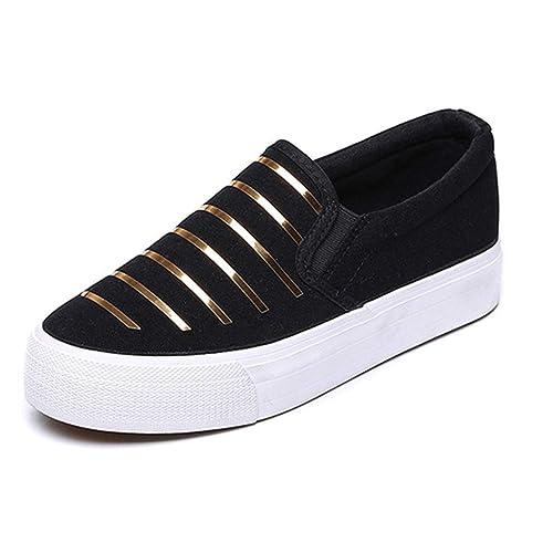 Primavera Mujer Mocasines Enredaderas Moda Pisos Punta Redonda Negro Resbalón en cómodos Mocasines de Rayas Zapatillas de Deporte: Amazon.es: Zapatos y ...