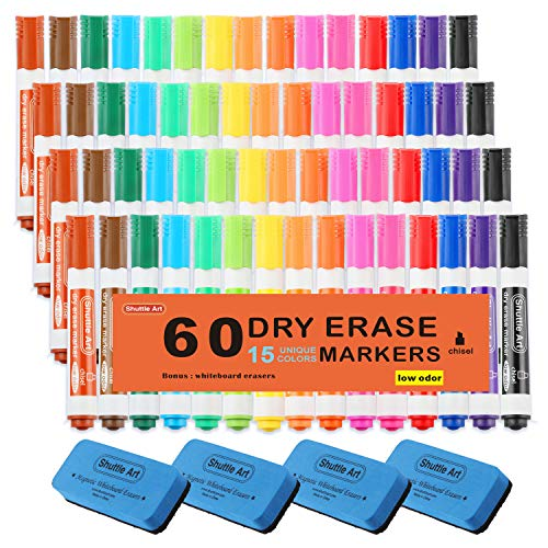 Dry Erase Markers with Eraser, 60 Pack Shuttle Art 15 Colors White Board Markers and Eraser, Low-Odor, Chisel Tip Usable on Whiteboard Surface for School Office -