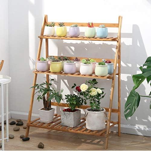 unho Escalera para Flores de Bambú Estantería Decorativa para Macetas Soporte para Plantas Exterior Interior Jardín con 3 Niveles 70 x 38 x 97cm: Amazon.es: Jardín