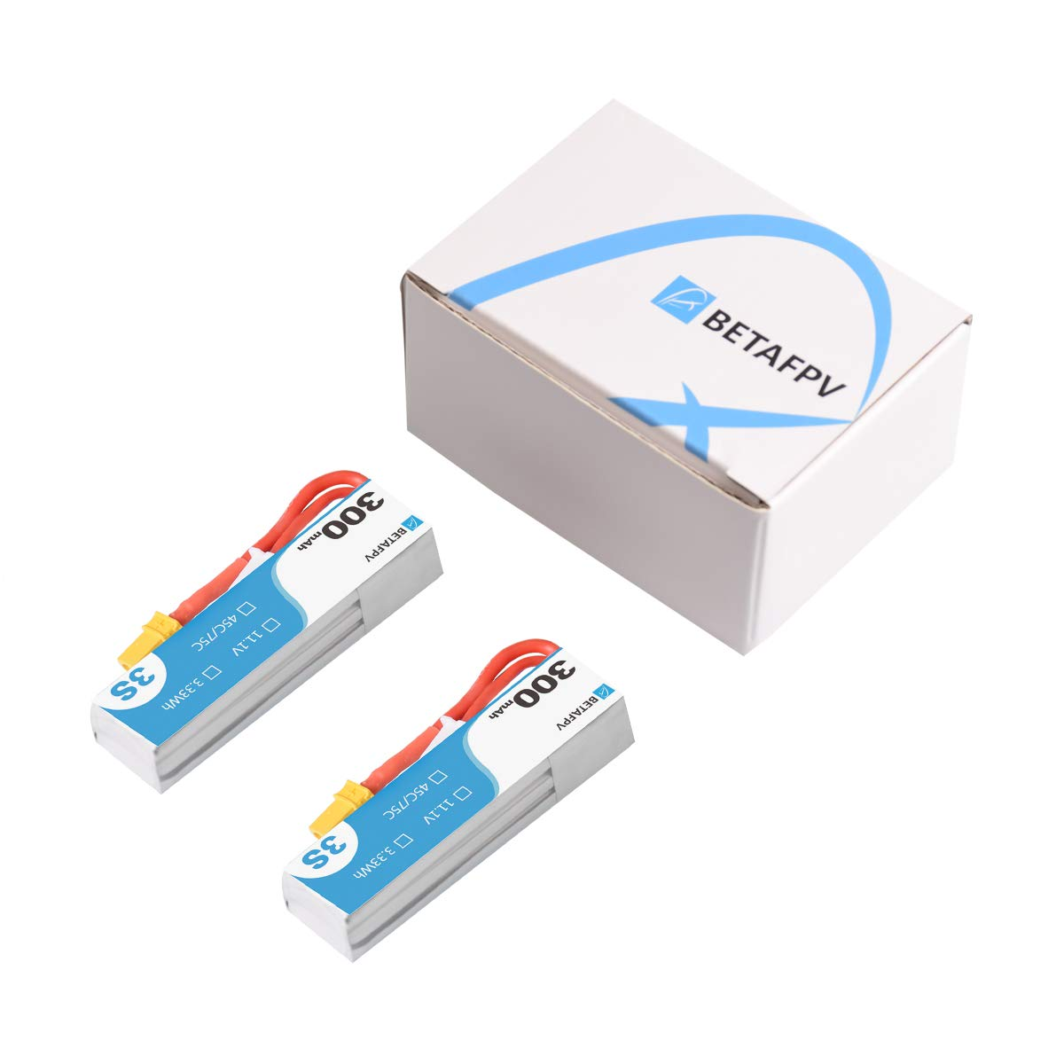 BETAFPV 2pcs 300mAh 3S S-Version Lipo Battery 45C//75C 11.1V XT30 18AWG Silicone Wire for Beta75X 3S HX100 Micro Quadcopter Whoop Drone FPV Racing Drone