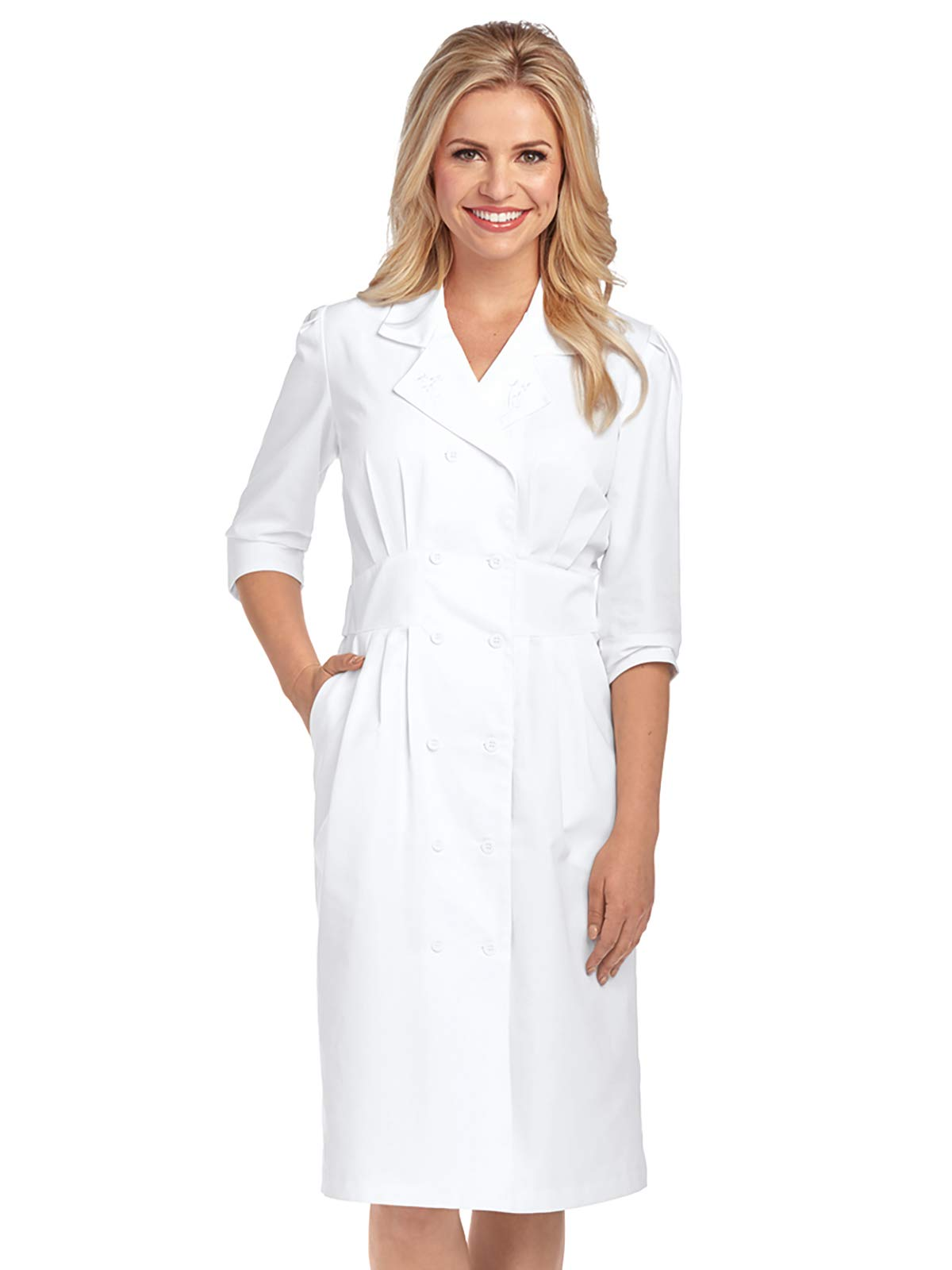 Barco Prima Uniforms 58505 Double Breasted Button Front Dress White L by Barco