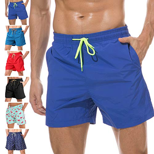 anqier Mens Swim Trunks Quick Dry Beach Shorts Mesh Lining Board Shorts Swimwear Bathing Suits with Pockets (Deep Blue, US XL (Fits Waist 36.5