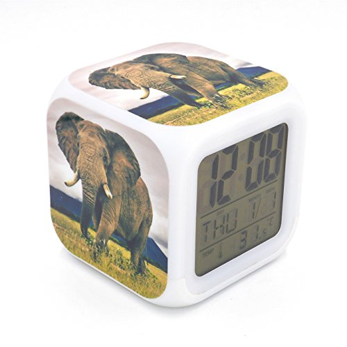 Boyan New Wild Elephant Animal Led Alarm Clock Creative Desk Table Clock Multipurpose Calendar Snooze Glowing Led Digital Alarm Clock for Unisex Adults Kids Toy Gift by Boyan
