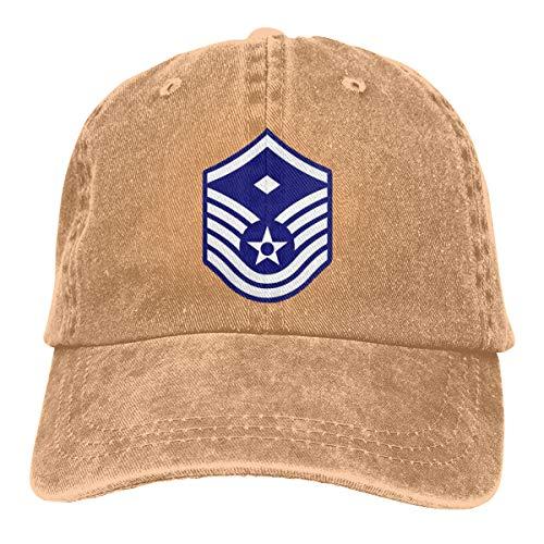 Unisex Air Force Master Sergeant 1st SGT Diamond Rank Adjustable Vintage Washed Denim Baseball Cap Dad Hat