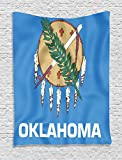 Ambesonne American Decor Collection, Flag of Oklahoma Ceremonial Pipe Native Americans Olive Branch Six Crosses Design Print, Bedroom Living Room Dorm Wall Hanging Tapestry, Blue White
