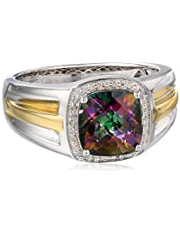 Men's Sterling Silver with Yellow Gold Plating (0.1cttw, I-J Color, I2-I3 Clarity) Ring, Size 10.5
