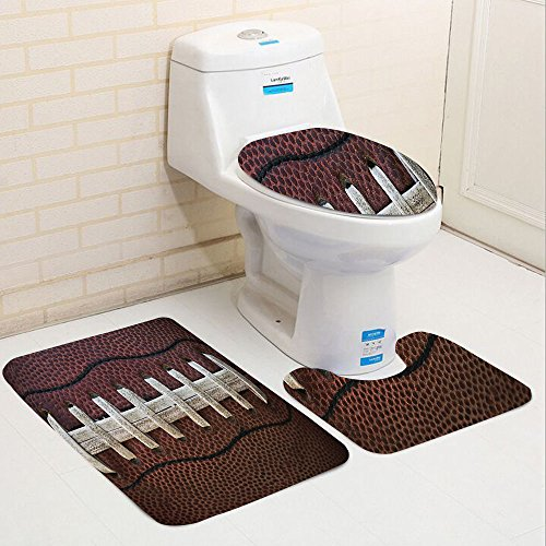 Keshia Dwete three-piece toilet seat pad customSports Collection American Football Themed Fun Traditional Sport Close Up Photo Pattern Ivory Black Dark Brown