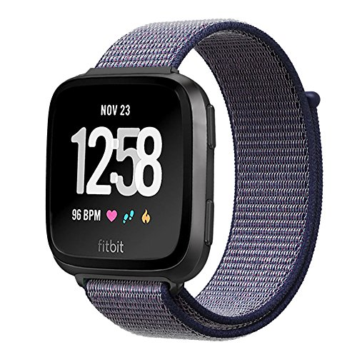 amBand Compatible for Fitbit Versa Bands Soft Nylon Sport Strap Replacement Wristband Compatible for Fitbit Versa Fitness Smart Watch - Midnight Blue