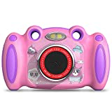 Campark Kids Camera for 4-8 Year Old Girl Gifts Front and Rear Selfie Digital Camera for Toddler Elementary Students with 2 inch Screen Anti-Drop Game Pink Child Camera