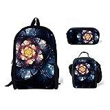 doginthehole Student Backpack Set 3 Piece Floral Shoulder Pencil Bags Lunch Bag