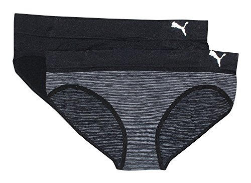 Puma Women's 2-Pack Seamless Super Soft Sport Stretch Bikini Panty, Black, X-Large