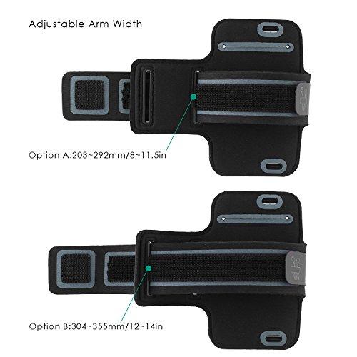 AUKEY Brazalete Deportivo para iPhone 6 / 6S Caja del Brazalete Antideslizante para Correr / Gimnasio / Curso con Velcro Ajustable Compatible con iPhone, HTC, LG y otros Teléfonos Inteligentes de meno