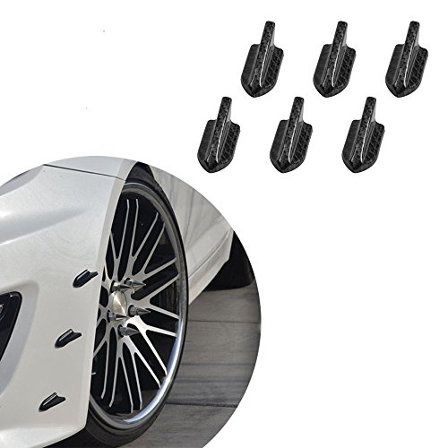 Alpha racing Air Vortex Generator Diffuser Shark Fin 6pcs Set Kit for Front Bumper Lip Splitter Fins Carbon Fiber ()