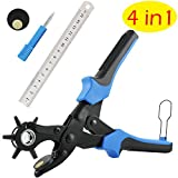 Belt Hole Puncher, (Perfect Full Set)E2Buy Leather Hole Punch, Heavy Duty Revolving Punch Plier Tool with 2 Extra Punch Plates and Ruler, Multi Sized Puncher for Belts, Crafts, Card, Rubber, etc.