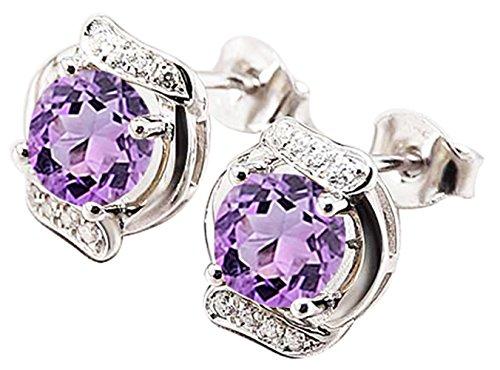 Sterling Silver Natural Gemstone Amethyst Stud Earrings(Amethyst Earrings - Bright Purple)
