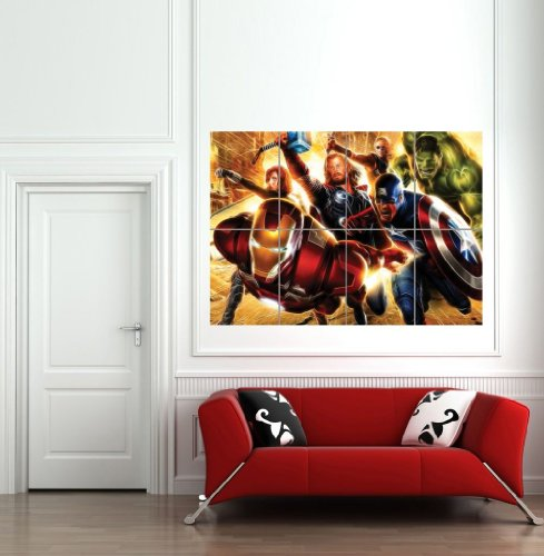 LIGHT ART AVENGERS SUPER HEROES GIANT ART PRINT PICTURE POSTER B1151