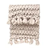 Sikye Chunky Knitted Blanket Hand-Made Warm Thick Knitting Throw Pet Mat Rug for Bedroom Decor (C)