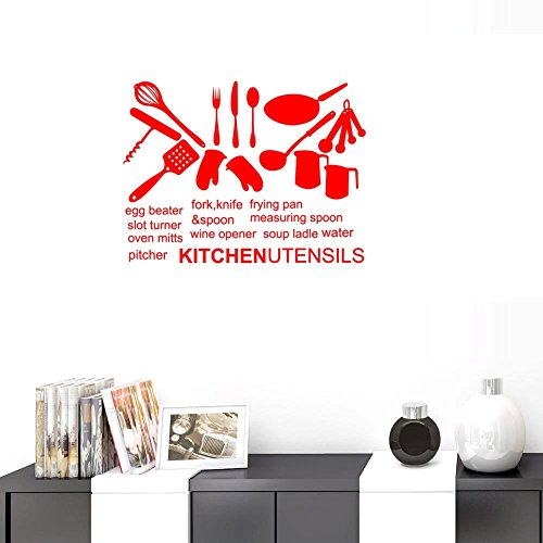BIBITIME Red Vinyl Silhouette Stickers Cookers Frying pan Measuring Spoon Soup ladle Water etc Wall Decal Kitchen Utensils English Sayings Quotes for Restaurant Window