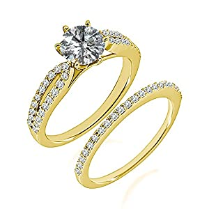 1.46 Carat G-H I2-I3 Diamond Engagement Wedding Anniversary Halo Bridal Ring Set 14K Yellow Gold