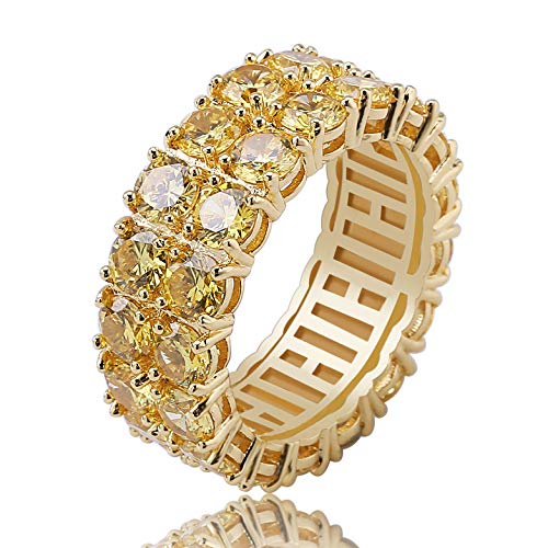 Gold Pave Ring Round (TOPGRILLZ 9mm 2 Rows Round Cut 14K Gold and Silver Plated Iced Out CZ Lab Diamond Eternity Wedding Engagement Band Ring for Men and Women (Golden, 11))