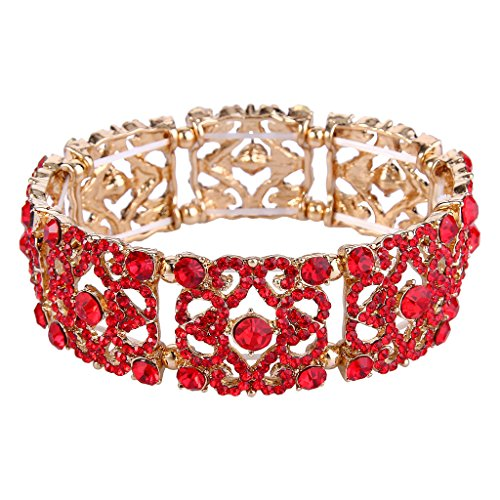 Crystal Vintage Style Bracelet - EVER FAITH Women's Austrian Crystal Vintage Style Gorgeous Flower Stretch Bracelet Red Gold-Tone