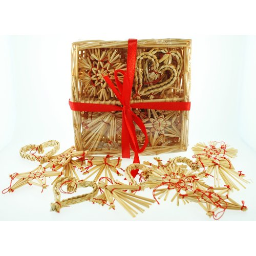 (Straw Ornaments Assortment in Basket - 24 pc.)