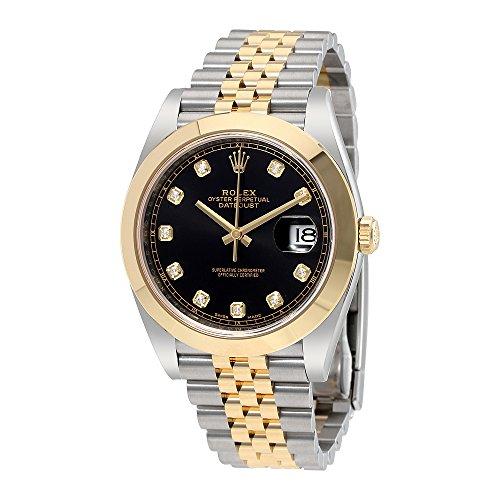 Rolex Datejust 41 Black Diamond Dial Steel and 18K Yellow Gold Jubilee Mens Watch 126303BKDJ - 18k Yellow Gold Diamond Watch