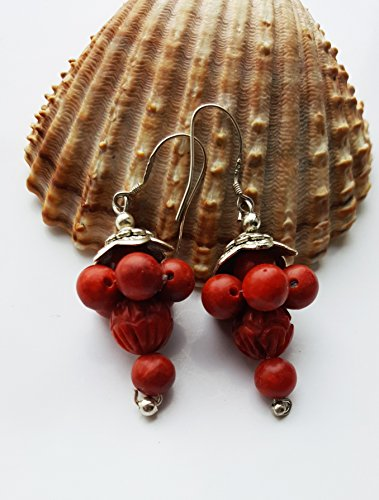 Stunning Grape Carved Red Salmon Coral Bead Earrings 925 Sterling Silver Hooks