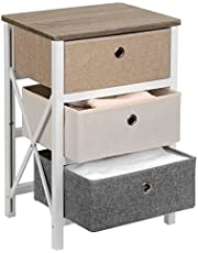 SortWise Modern Style Dresser Drawer End Table/Night Stand with 3 Storage Bins for Bedroom Organizer