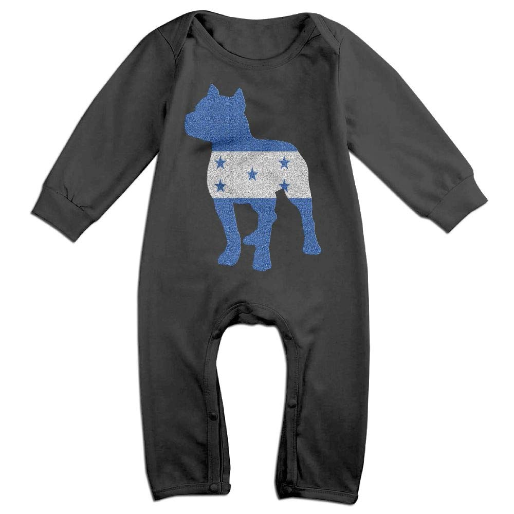 Mri-le1 Baby Boy Girl Long Sleeve Jumpsuit Patriotic Pitbull Honduras Flag Infant Long Sleeve Romper Jumpsuit