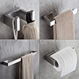 Fapully Toilet Roll Paper Holder Single Handle Solid Brass Bathroom Accessory 4-Piece Bath Hardware Paper Holder Stands Lavatory Robe Hooks Stainless Steel