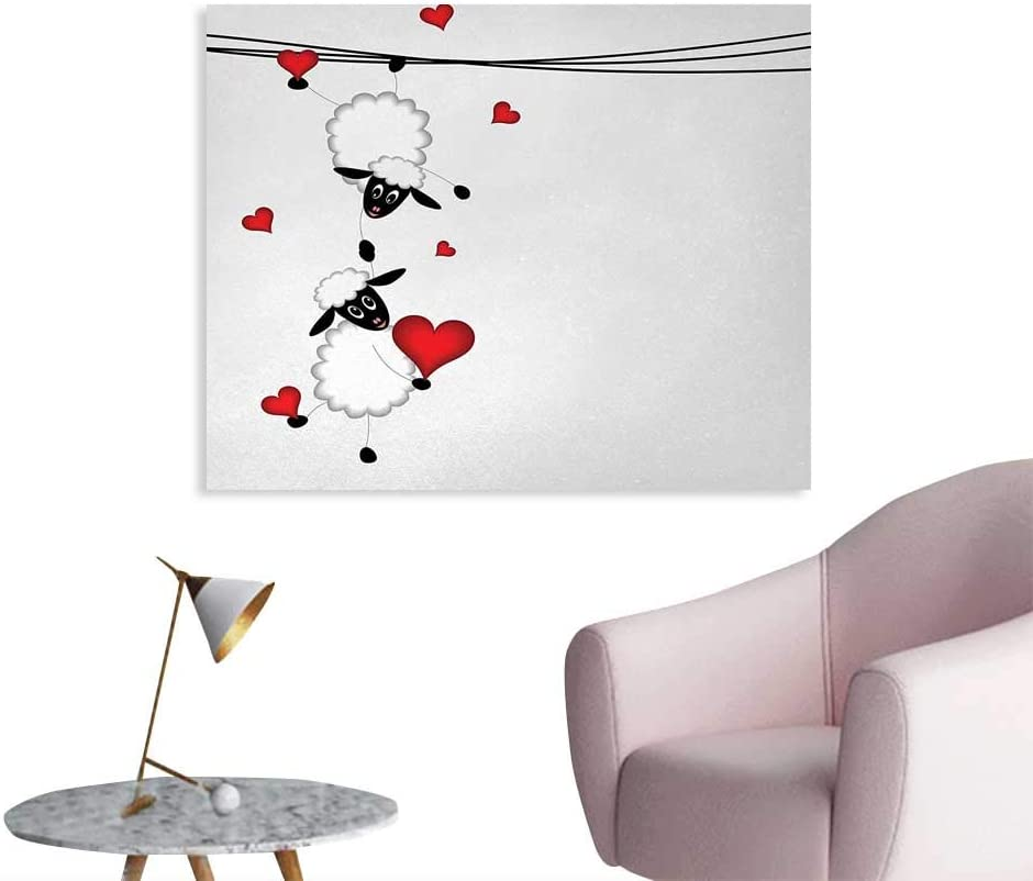8x12 FT Animal Vinyl Photography Backdrop,Sheep Couple with Heart Shapes in Love Valentines Hanging On Fun Comic Cartoon Background for Baby Birthday Party Wedding Studio Props Photography