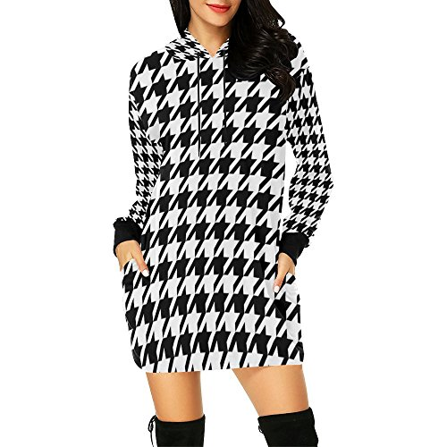 Artsadd Unique Debora Custom Women's Hoodie Mini Dress Sweatshirt Long Sleeve For Black and White Houndstooth Classic Pattern