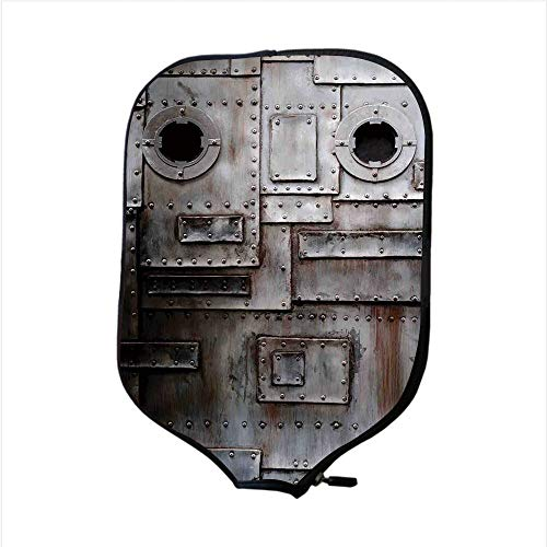 iPrint Neoprene Pickleball Paddle Racket Cover Case,Industrial,Rusty Stylized Iron Porthole Grunge Scratched Steel Factory Entrance Retro Image,Dark Taupe,Fit for Most Rackets - Protect Your ()