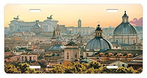 zaeshe3536658 City License Plate, Vieof Rome from CasteSant'Angelo Italy HistoricaLandmark Vatican, High Gloss Aluminum Novelty Plate, 6 X 12 Inches, Pale Salmon Ivory Green