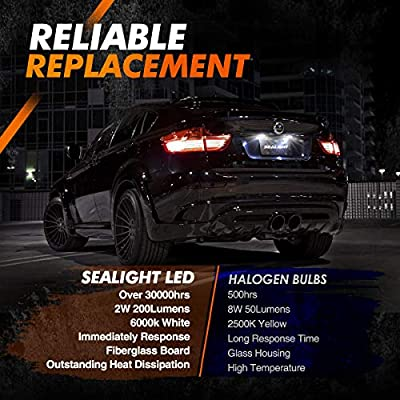 SEALIGHT 194 LED Light Bulb 6000K White Super Bright 168 2825 W5W T10 Wedge LED Replacement Lamp Error Free for Car Dome Map Door Courtesy License Plate Lights(Pack of 2): Automotive
