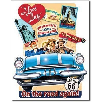 HDCA I Love Lucy On The Road Again TV Retro Vintage Tin Sign TIN Sign 7.8X11.8 INCH