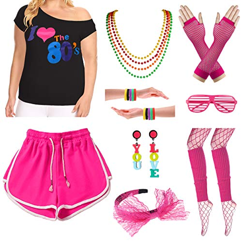 Plus Size Women 10 Piece Rock Star I Love The 80's T-Shirt Outfit Costume Set (L/1X, Hot Pink) -