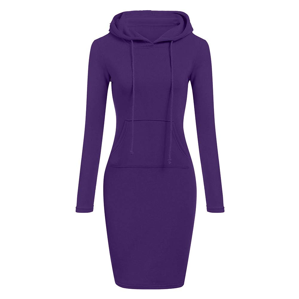 TOPUNDER Long Sleeve Patchwork Dress Casual Long Hooded Sweatershirt Dresses Women Purple